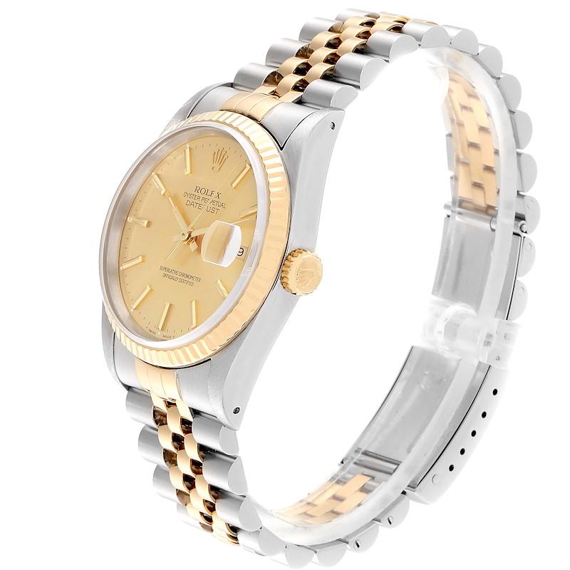 Rolex Datejust Steel 18K Yellow Gold Fluted Bezel Mens Watch 16233 SwissWatchExpo
