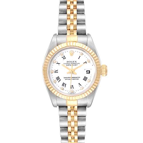 Photo of Rolex Datejust Steel Yellow Gold Roman Diamond Dial Ladies Watch 69173 Box Paper