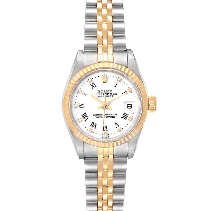 Rolex Datejust Steel Yellow Gold Roman Diamond Dial Ladies Watch 69173 Box Paper SwissWatchExpo