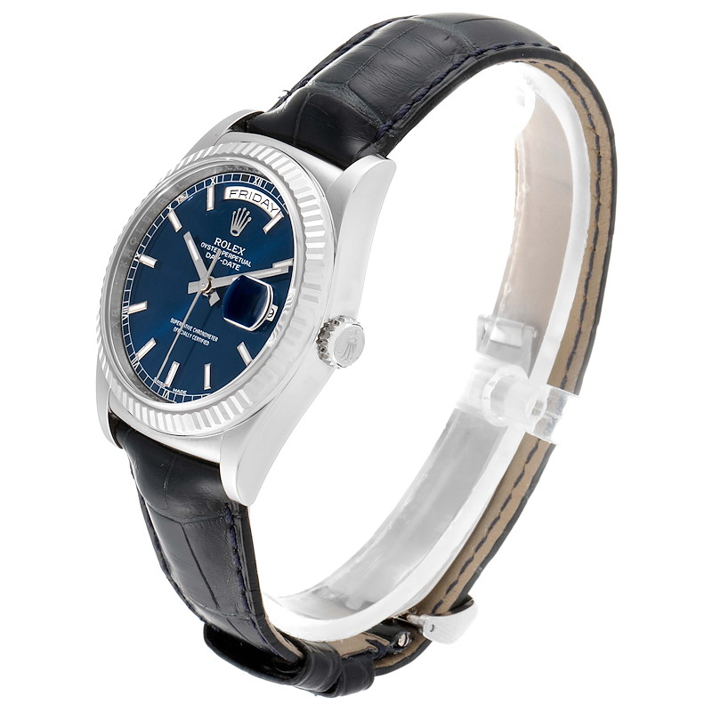 Rolex President Day-Date White Gold Blue Dial Mens Watch 118139 SwissWatchExpo