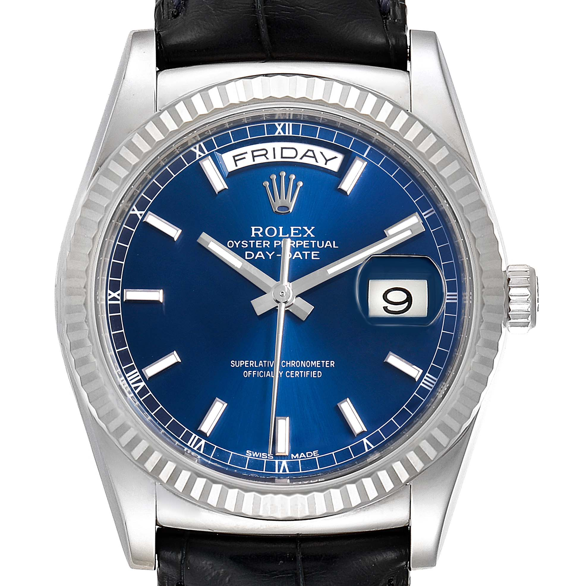 Photo of Rolex President Day-Date White Gold Blue Dial Mens Watch 118139
