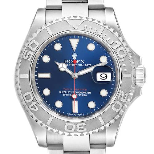 Photo of Rolex Yachtmaster 40mm Steel Platinum Blue Dial Mens Watch 116622
