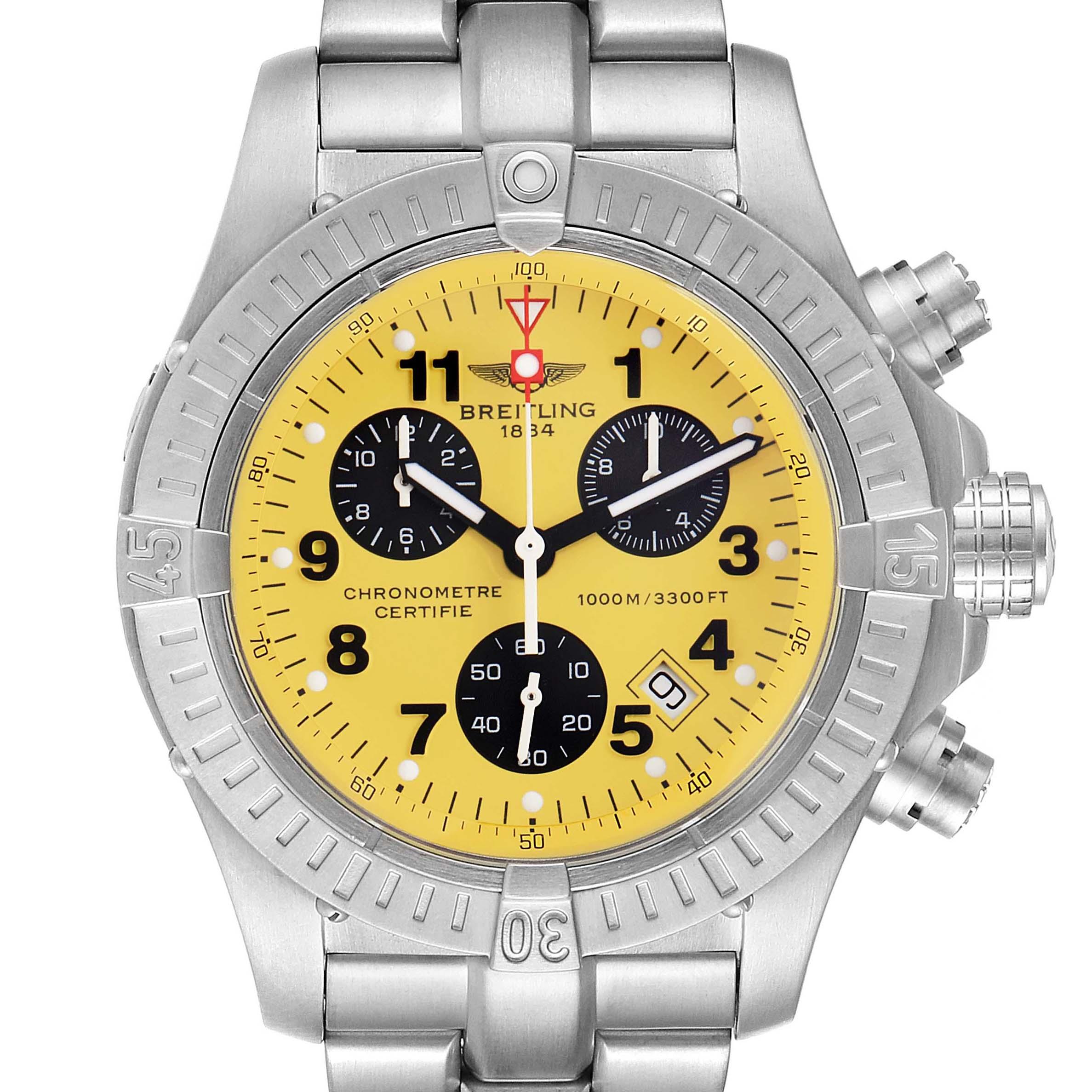 Photo of Breitling Aeromarine Chrono Avenger M1 Yellow Dial Titanium Watch E73360