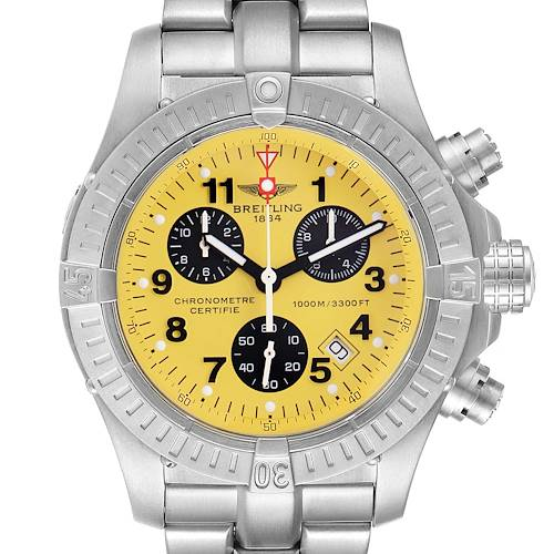 Photo of Breitling Aeromarine Chrono Avenger M1 Yellow Dial Titanium Watch E73360
