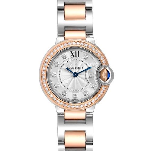 Photo of Cartier Ballon Blue Steel Rose Gold Diamond Ladies Watch W3BB0009 Unworn