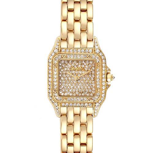 Photo of Cartier Panthere Ladies 18k Yellow Gold Pave Diamond Ladies Watch