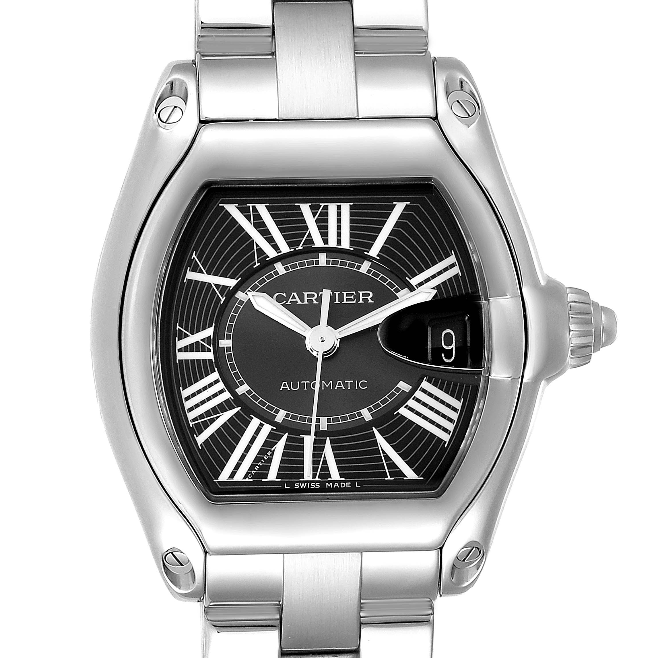 Cartier Roadster Black Dial Large Steel Mens Watch W62041V3 SwissWatchExpo