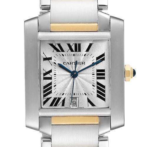 Photo of Cartier Tank Francaise Steel Yellow Gold Large Mens Watch W51005Q4