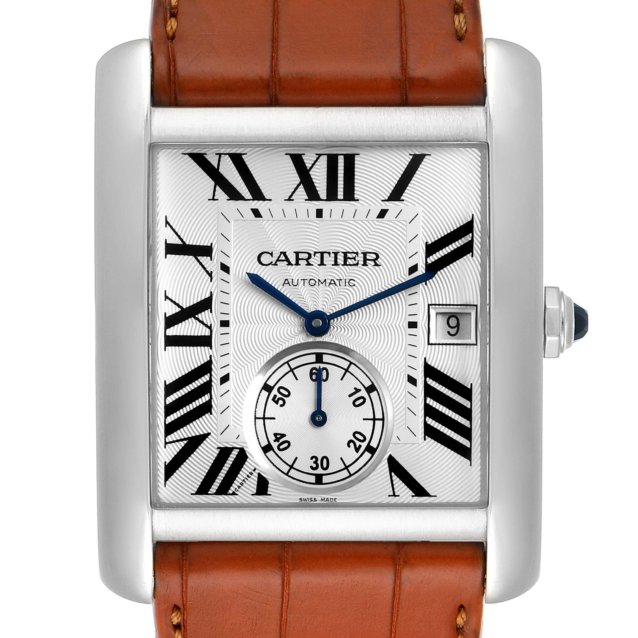 Cartier Tank MC Silver Dial Automatic Steel Mens Watch W5330003 Box Papers SwissWatchExpo