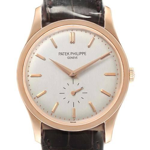 Photo of Patek Philippe Calatrava 18k Rose Gold Silver Dial Mens Watch 5196 Sealed
