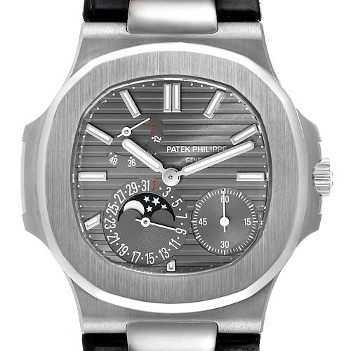Photo of Patek Philippe Nautilus White Gold Moonphase Mens Watch 5712 Box Papers