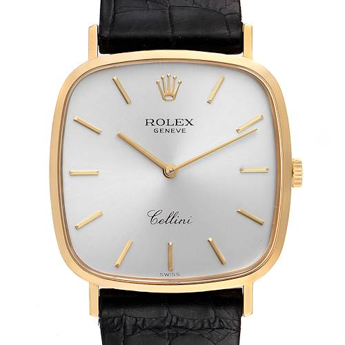 Photo of Rolex Cellini 18k Yellow Gold Black Strap Mens Vintage Watch 4114 Box Papers