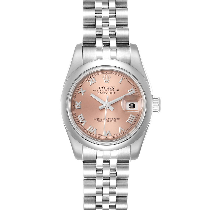 Rolex Datejust Salmon Roman Dial Steel Ladies Watch 179160 SwissWatchExpo