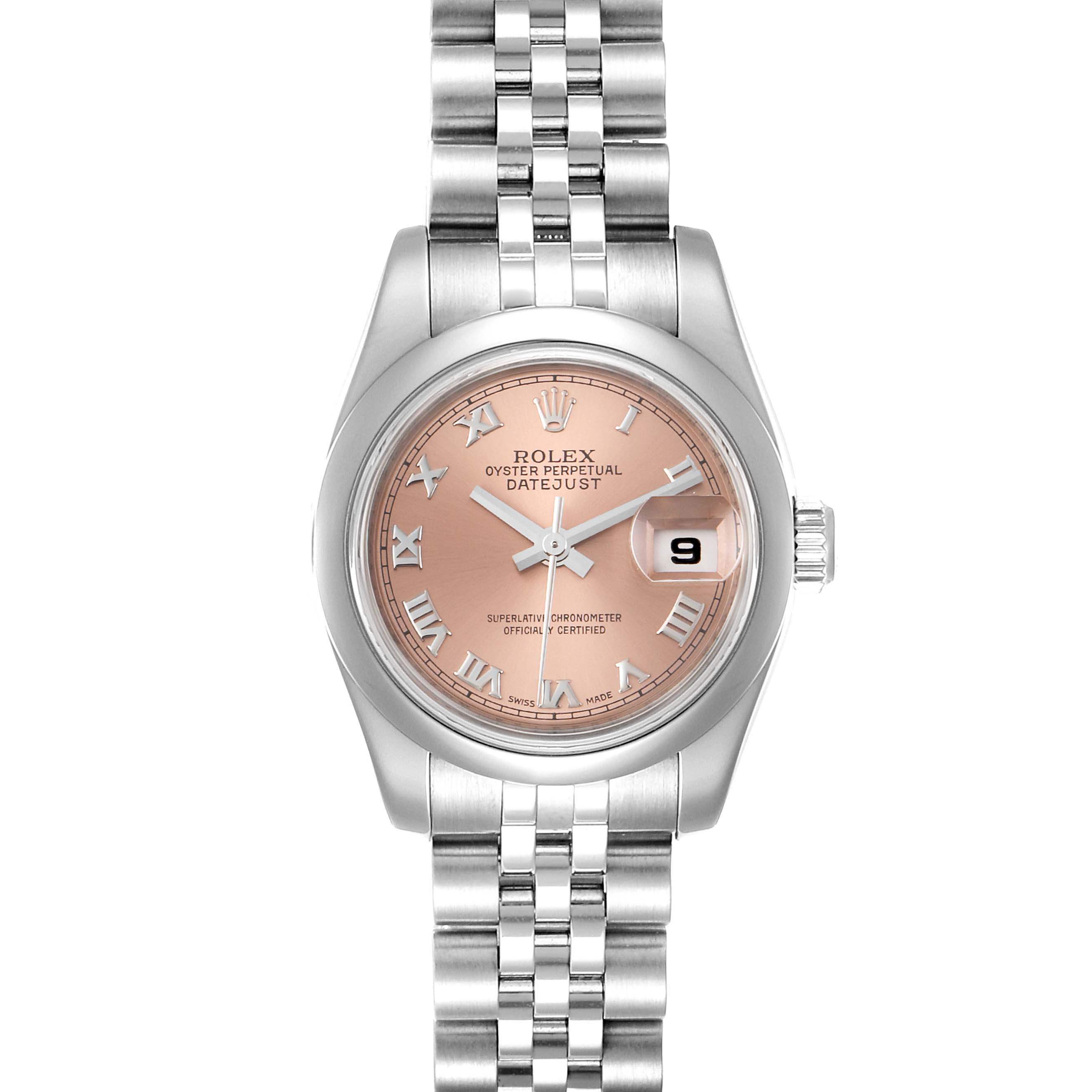 Photo of Rolex Datejust Salmon Roman Dial Steel Ladies Watch 179160
