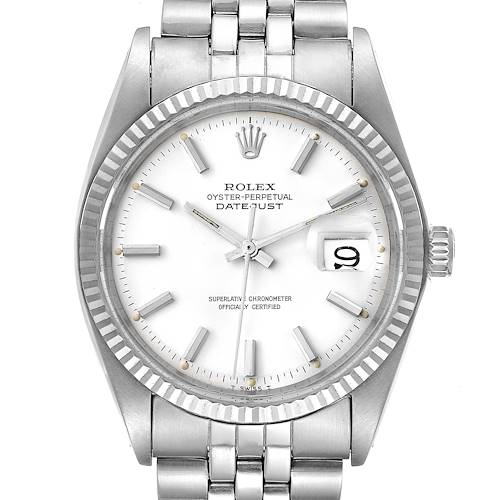 Photo of Rolex Datejust Steel White Gold White Dial Vintage Mens Watch 1601