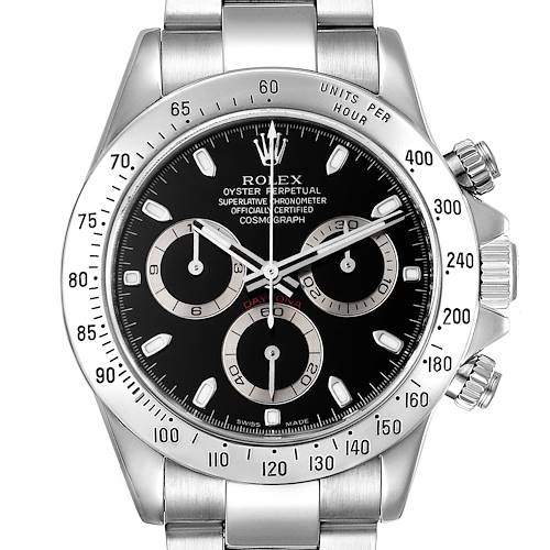 Photo of Rolex Daytona Black Dial Chronograph Steel Mens Watch 116520 Box Papers