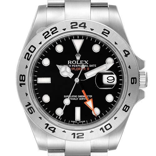 Photo of Rolex Explorer II 42 Black Dial Orange Hand Steel Mens Watch 216570 Unworn