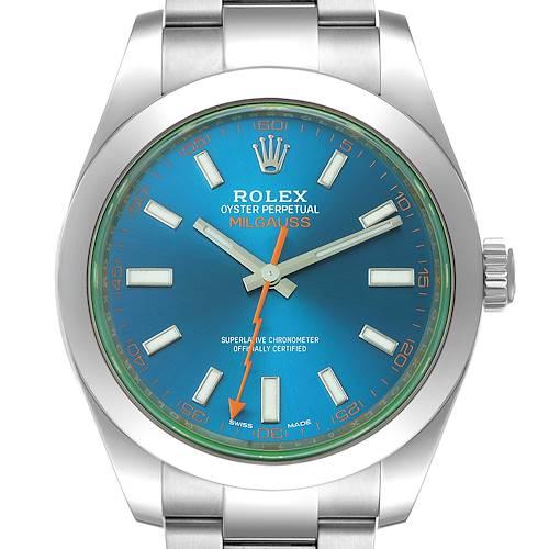 Photo of Rolex Milgauss Blue Dial Green Crystal Steel Mens Watch 116400 Box Card