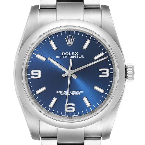 Photo of Rolex Oyster Perpetual 36mm Blue Dial Steel Mens Watch 116000
