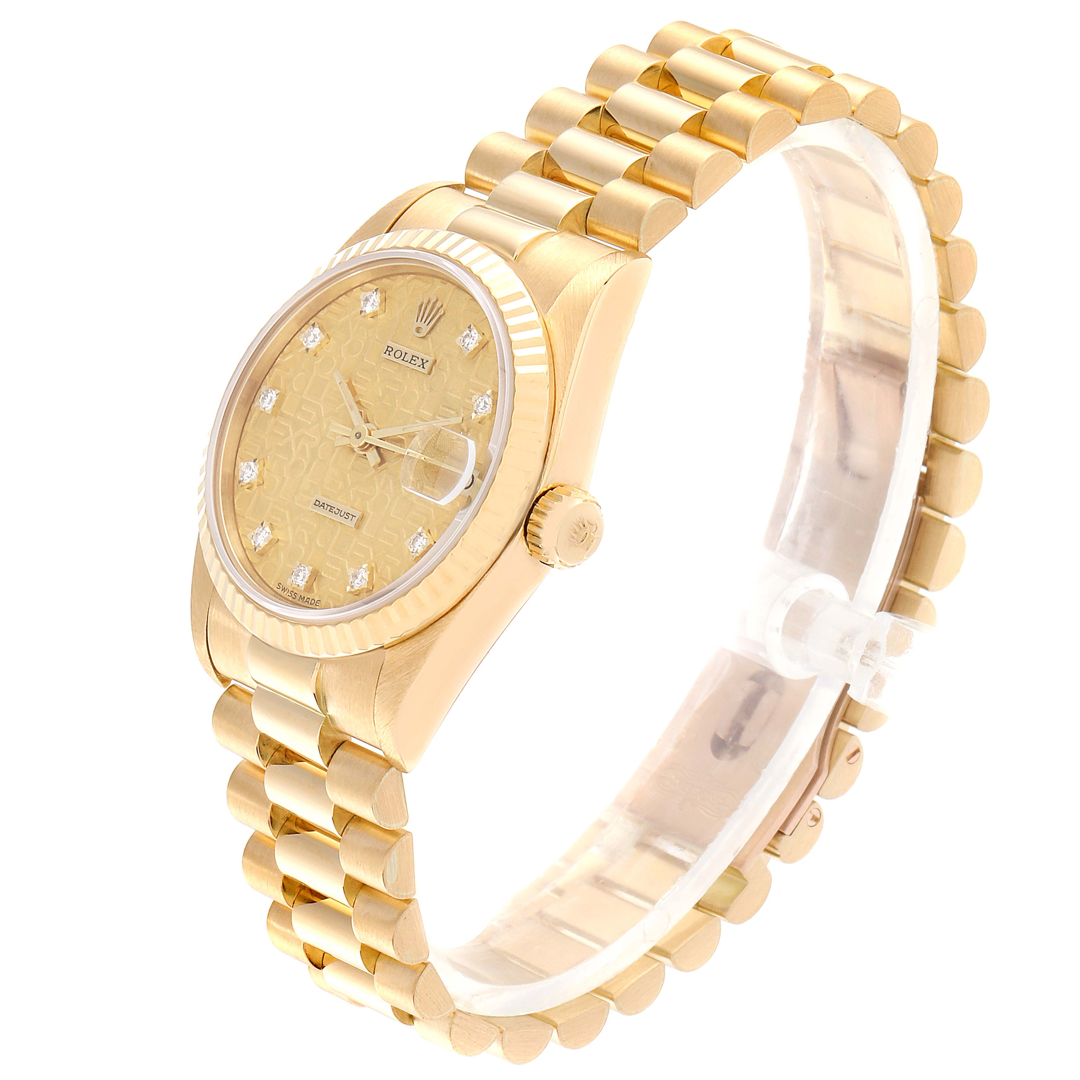 Rolex President Datejust 31 Midsize 18K Gold Diamond Watch 68278 SwissWatchExpo