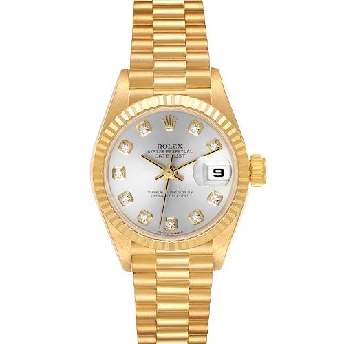 Photo of Rolex President Datejust Yellow Gold Silver Diamond Dial Ladies Watch 69178