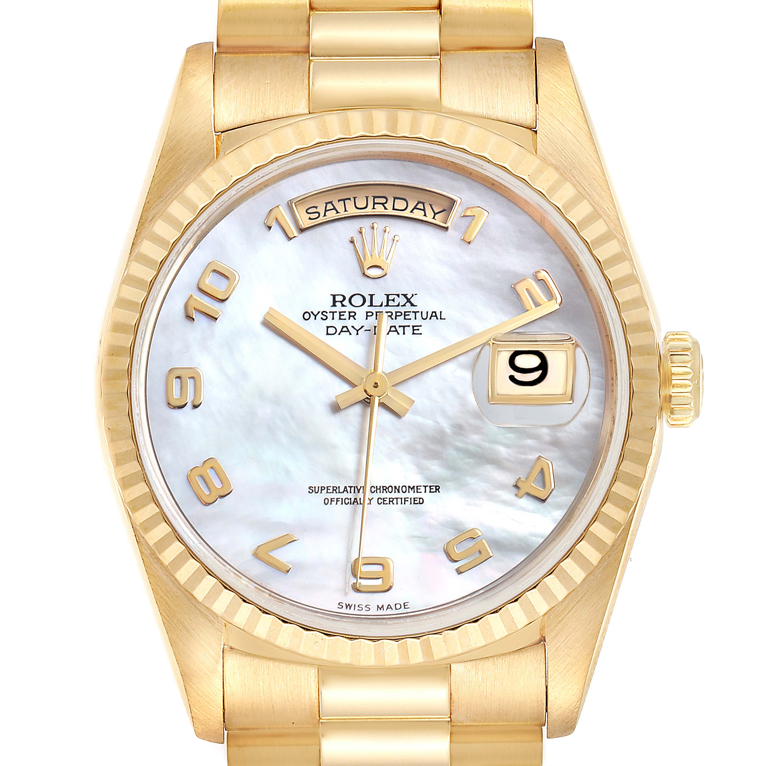 Photo of Rolex President Day-Date 36 MOP Dial Yellow Gold Mens Watch 18238