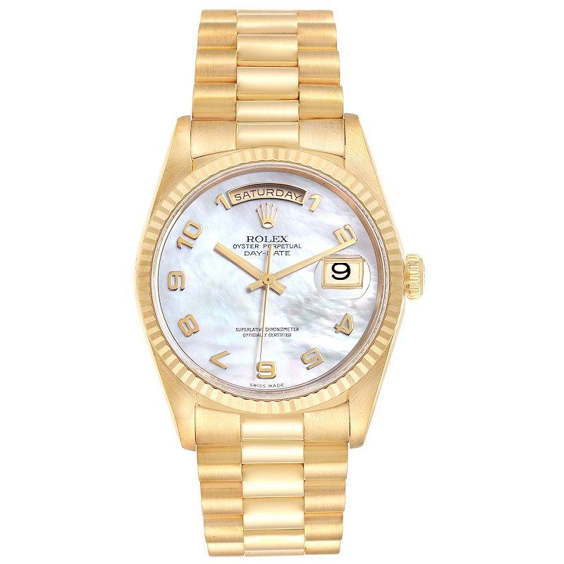 Rolex President Day-Date 36 MOP Dial Yellow Gold Mens Watch 18238 SwissWatchExpo