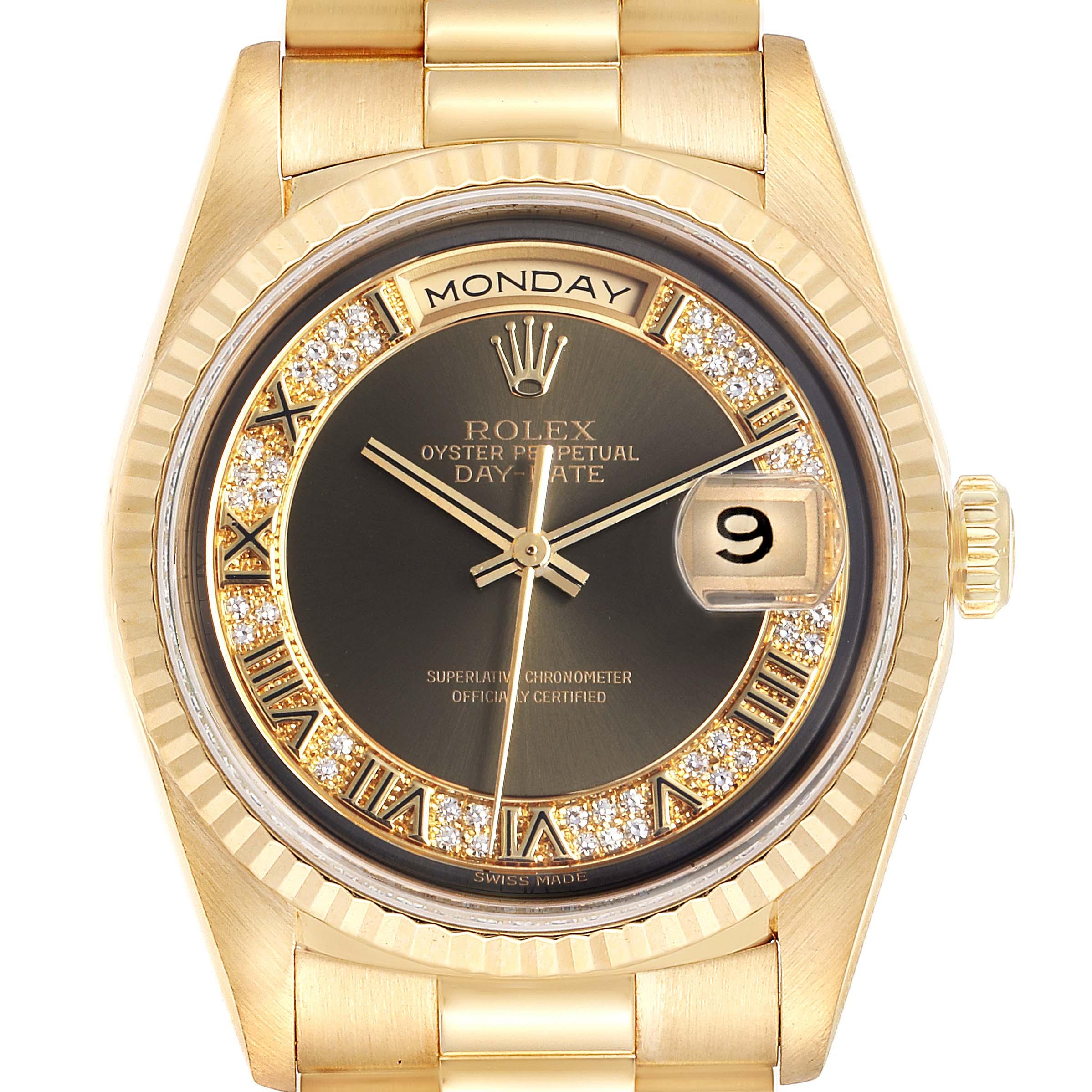 Photo of Rolex President Day-Date Yellow Gold Myriad Diamonds Mens Watch 18238
