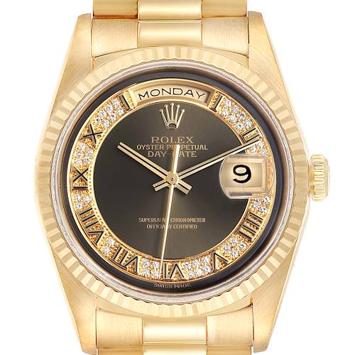 Photo of Rolex President Day-Date Yellow Gold Myriad Diamonds Mens Watch 18238