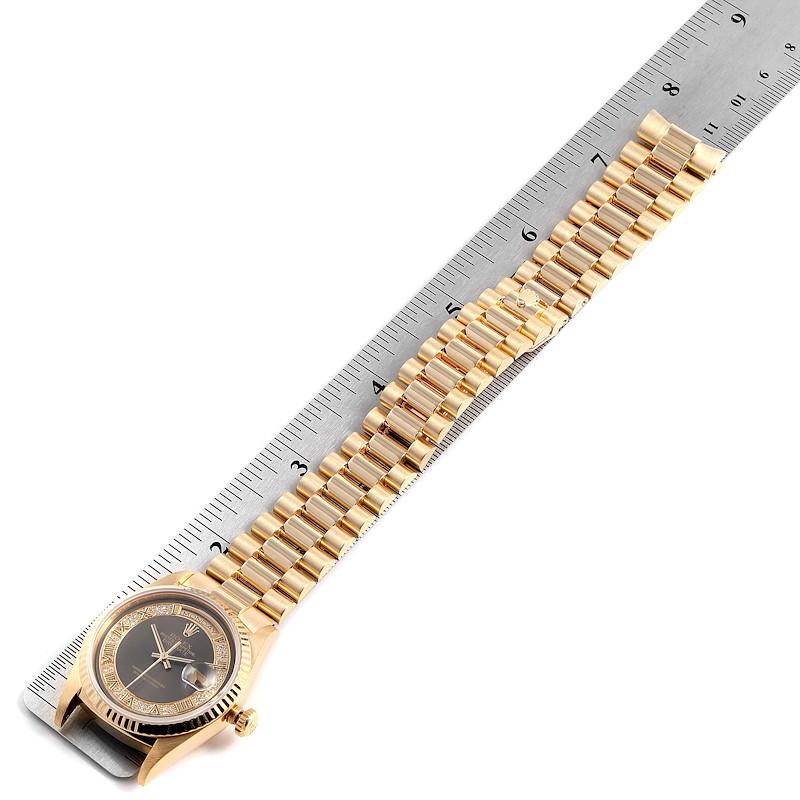 Rolex President Day-Date Yellow Gold Myriad Diamonds Mens Watch 18238 SwissWatchExpo
