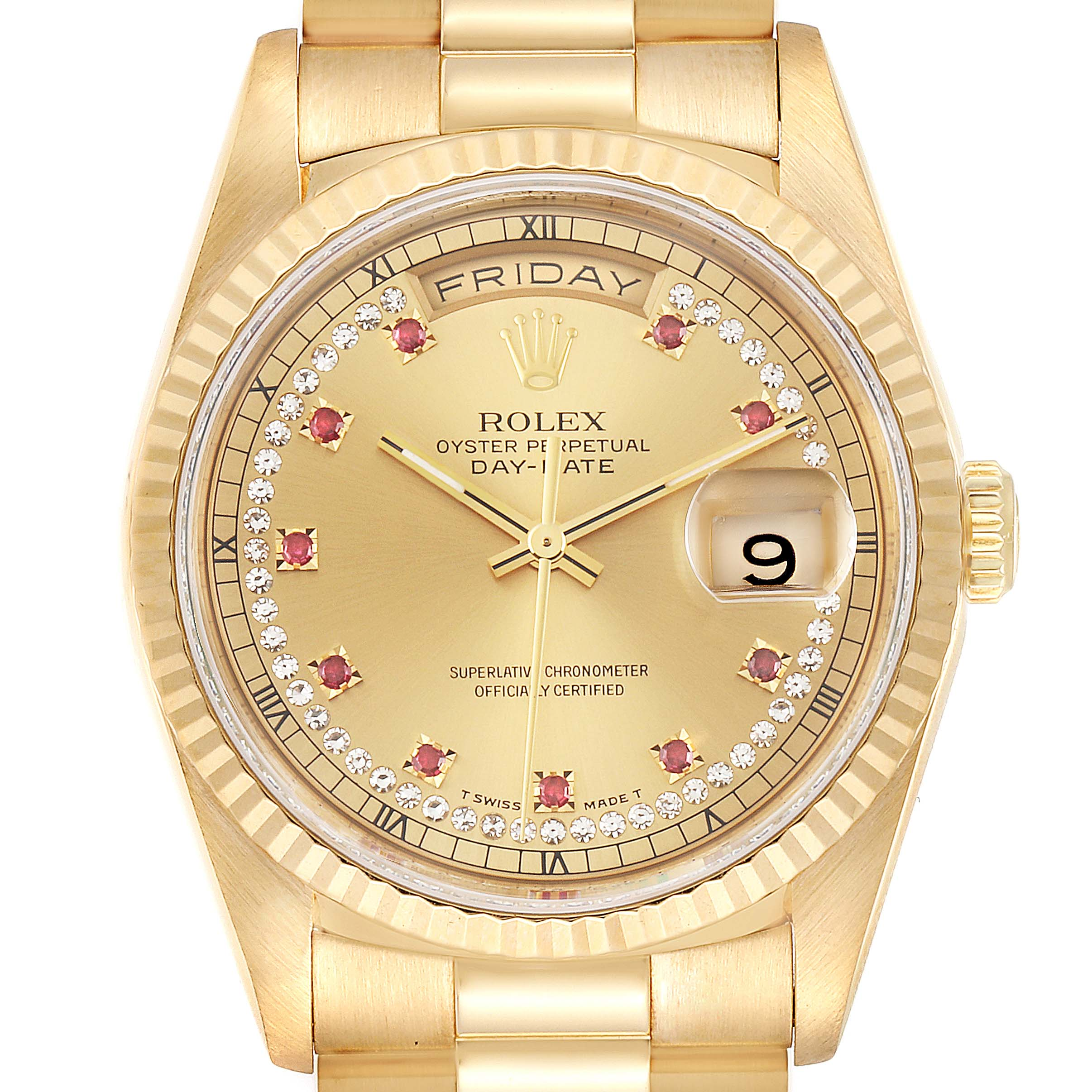 Photo of Rolex President Day-Date Yellow Gold String Diamond Ruby Dial Watch 18238