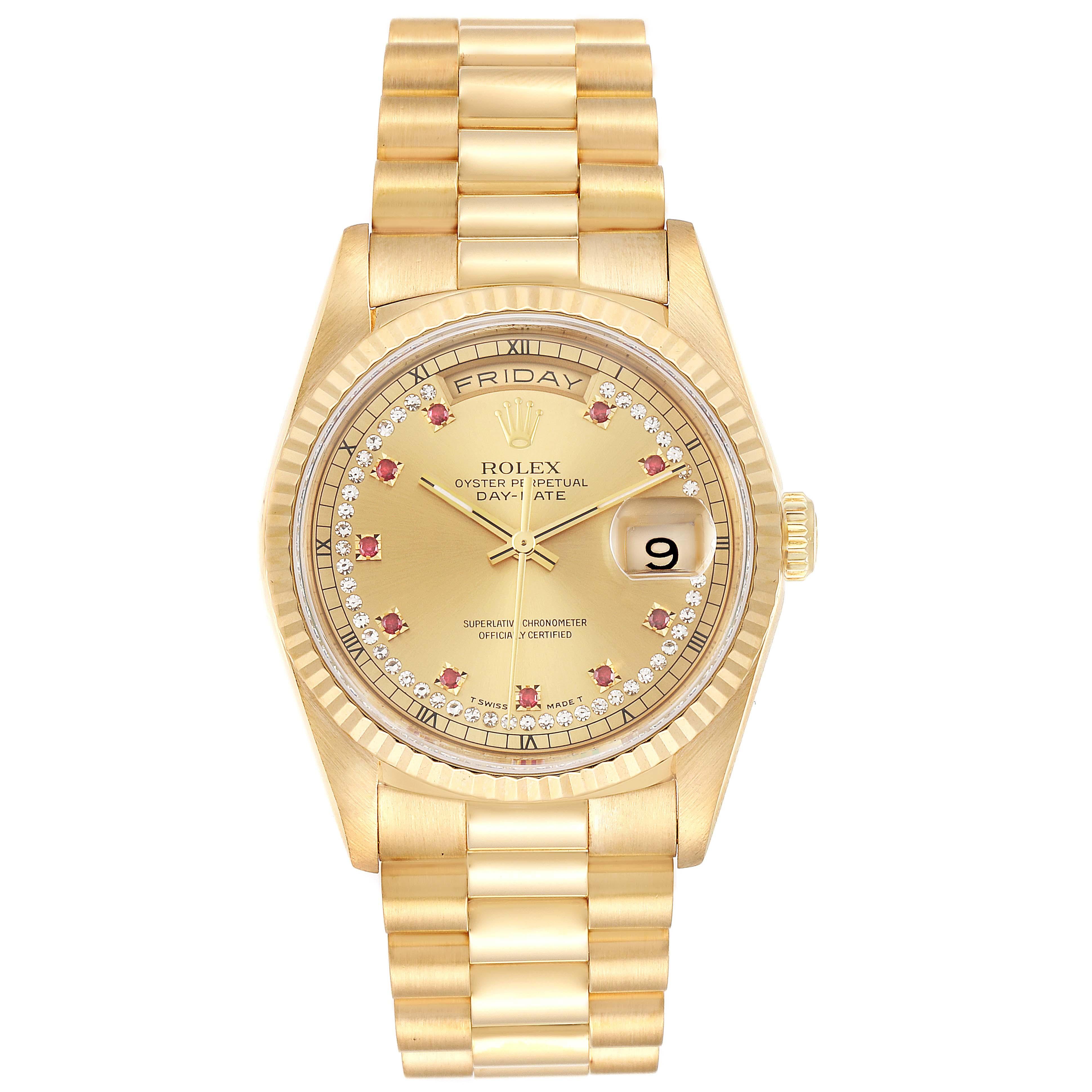 Rolex President Day-Date Yellow Gold String Diamond Ruby Dial Watch 18238 SwissWatchExpo