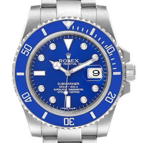 Photo of Rolex Submariner White Gold Smurf Blue Dial Diamond Mens Watch 116619
