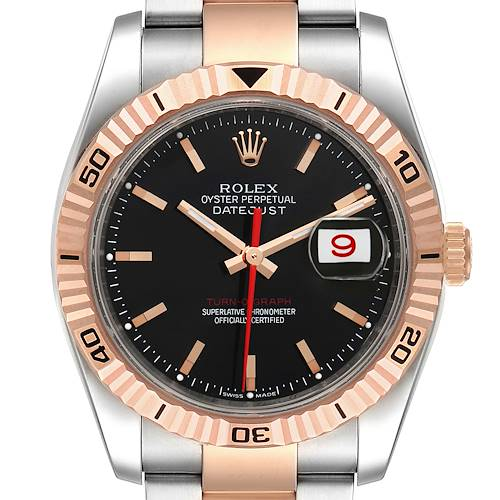 Photo of Rolex Turnograph Datejust Steel Rose Gold Black Dial Mens Watch 116261