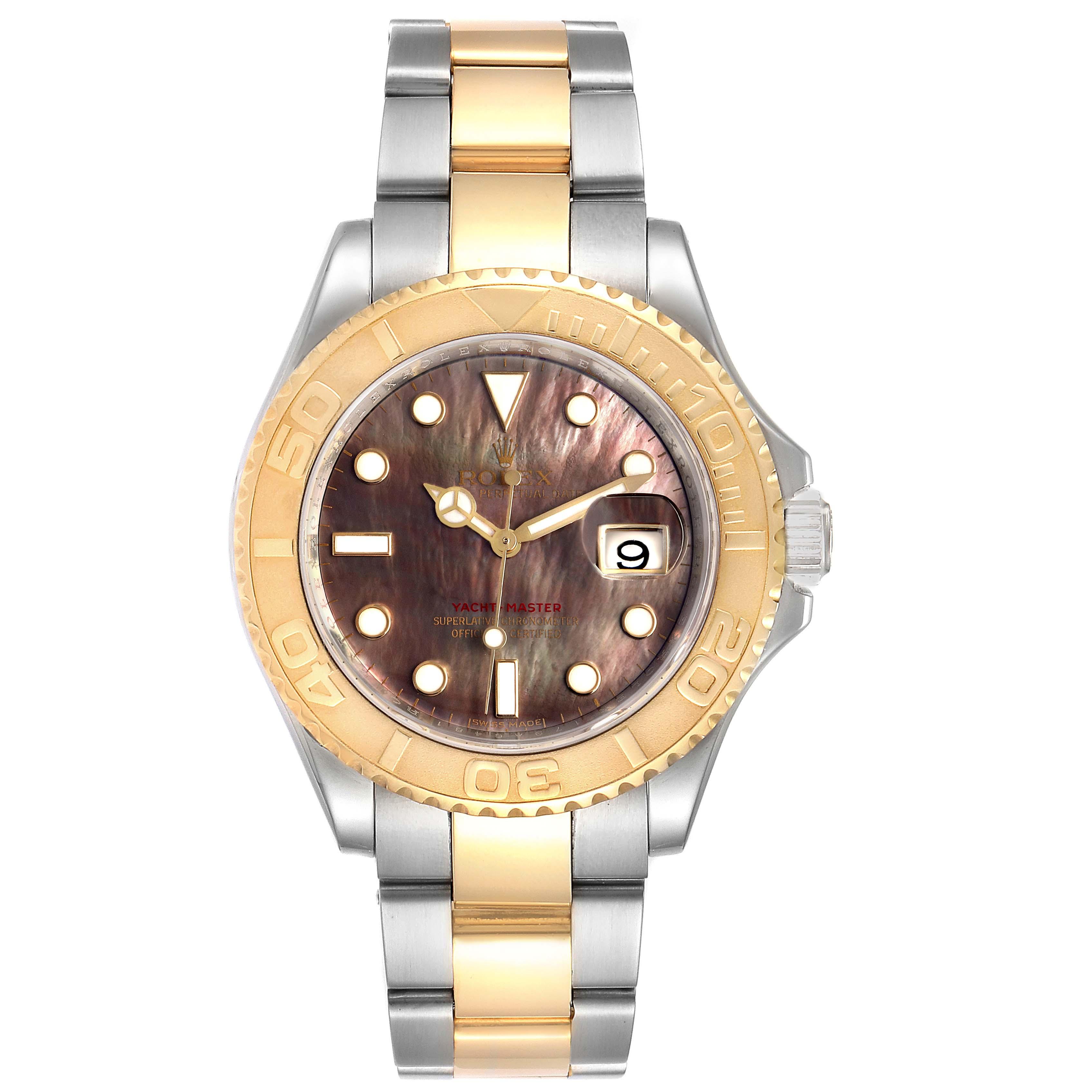 Rolex Yachtmaster 40 Steel Yellow Gold MOP Mens Watch 16623 Box Card SwissWatchExpo