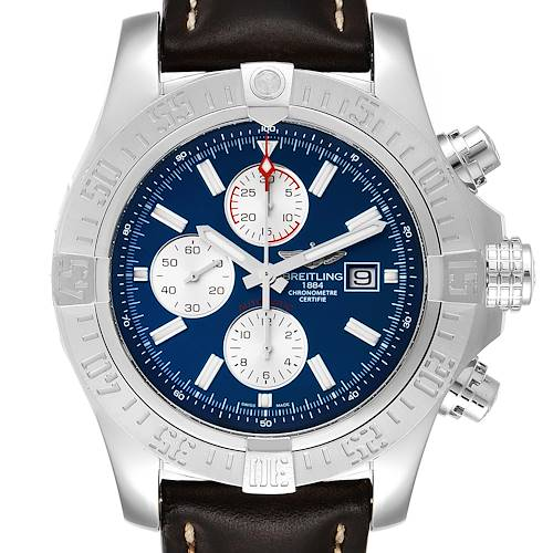 Photo of Breitling Aeromarine Super Avenger Brown Strap Watch A13371 Box Card