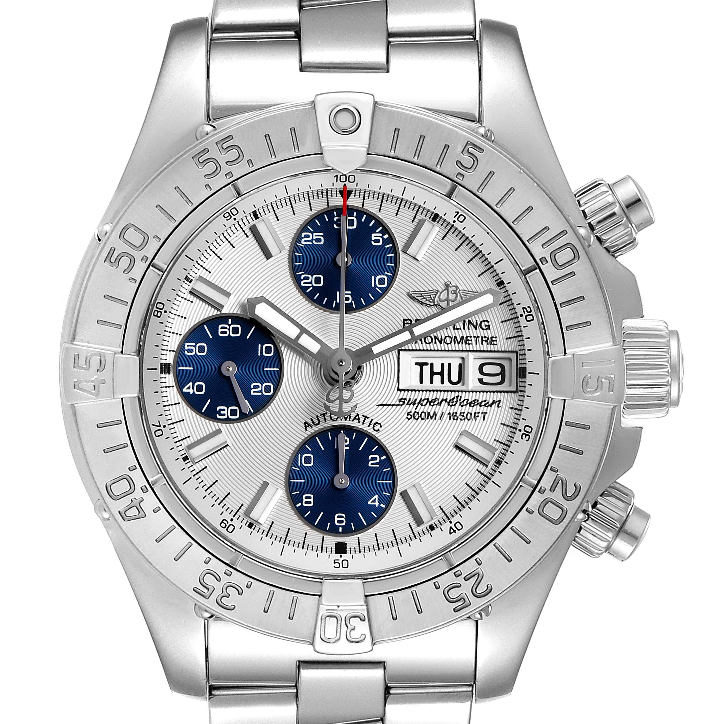 Photo of Breitling Aeromarine Superocean Silver Dial Mens Watch A13340 Box