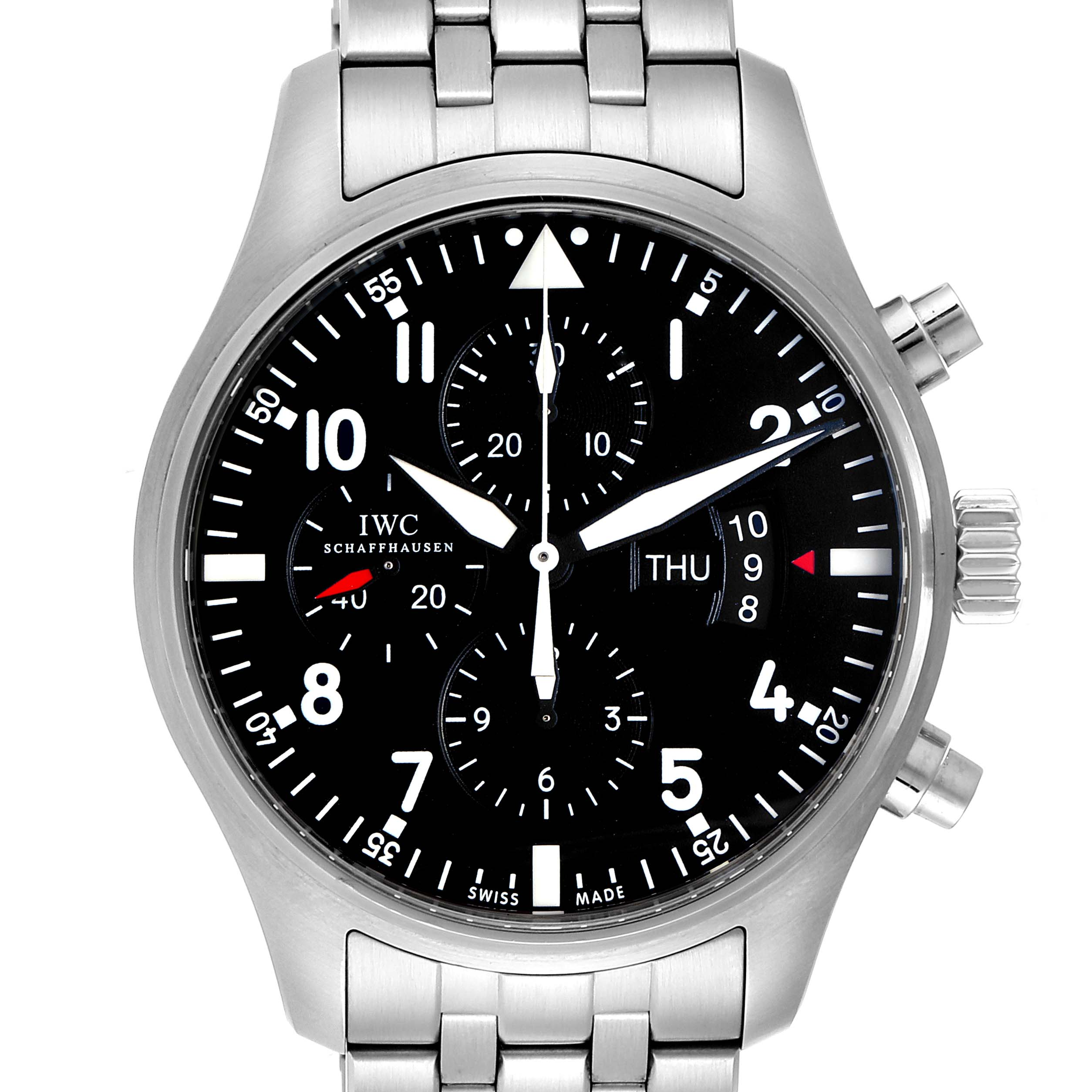 Photo of IWC Pilot Black Dial Chronograph Mens Watch IW377704 Card