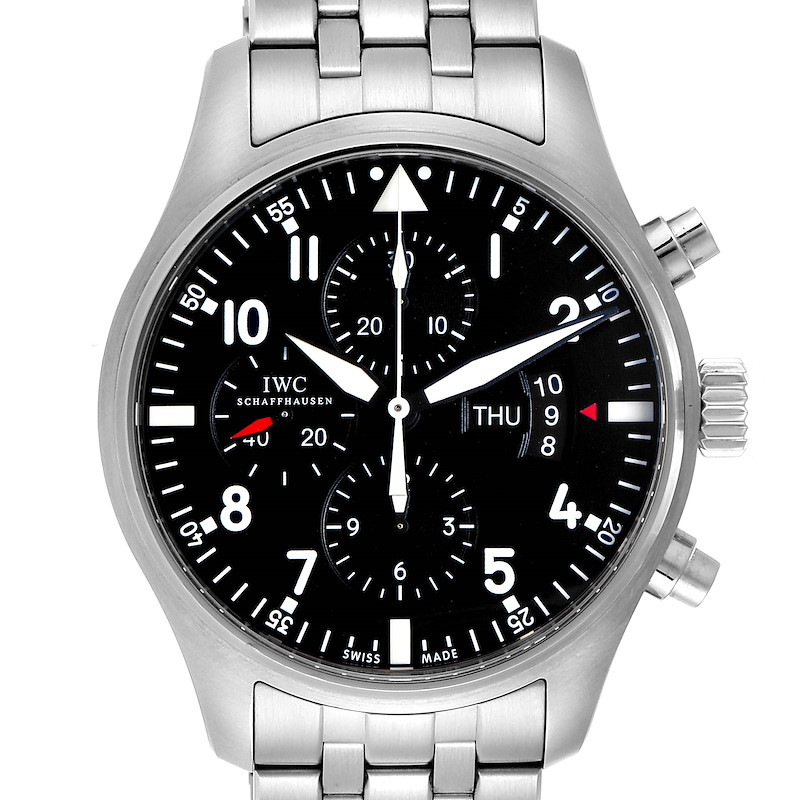 IWC Pilot Black Dial Chronograph Mens Watch IW377704 Card SwissWatchExpo