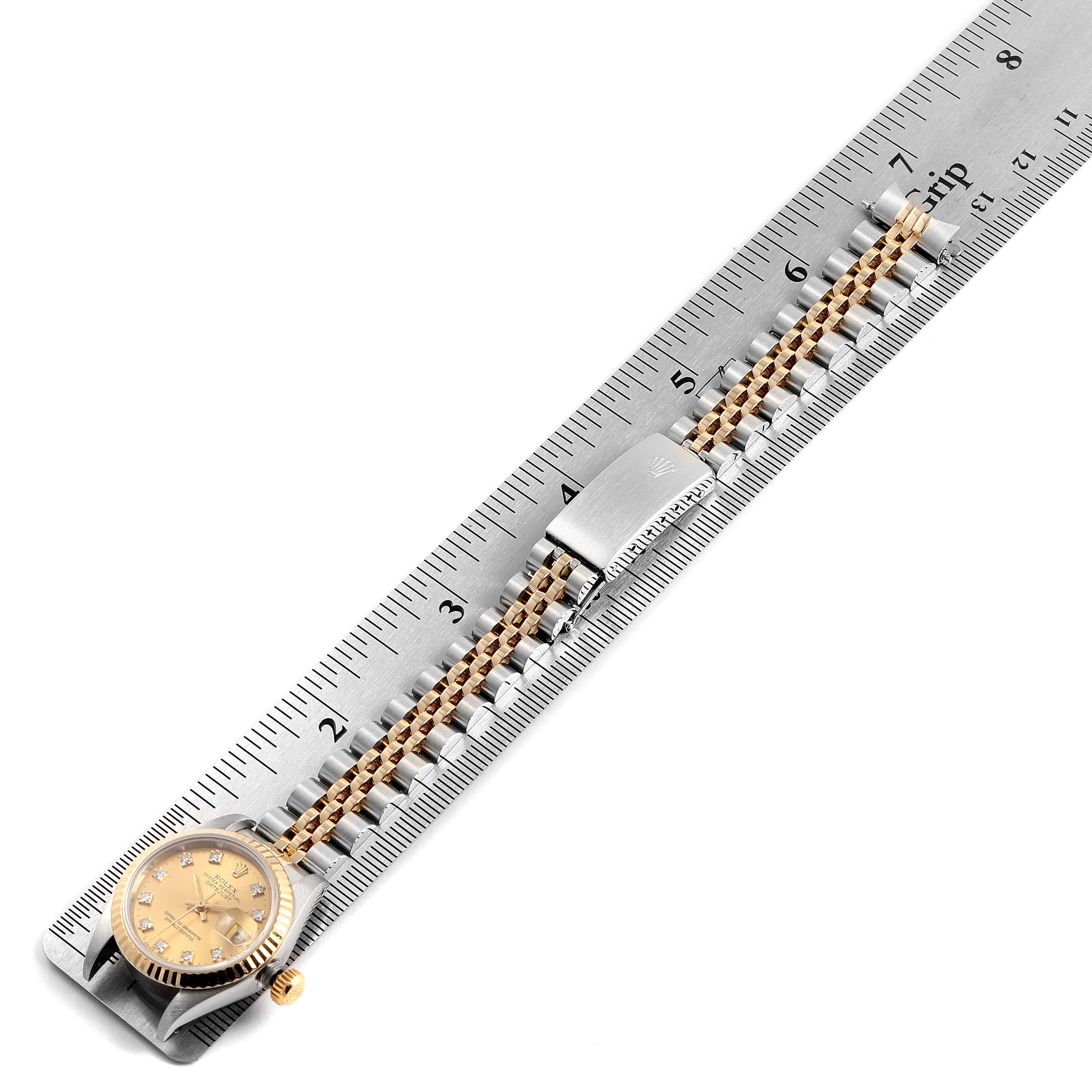 Rolex Datejust 26mm Steel Yellow Gold Diamond Ladies Watch 69173 SwissWatchExpo
