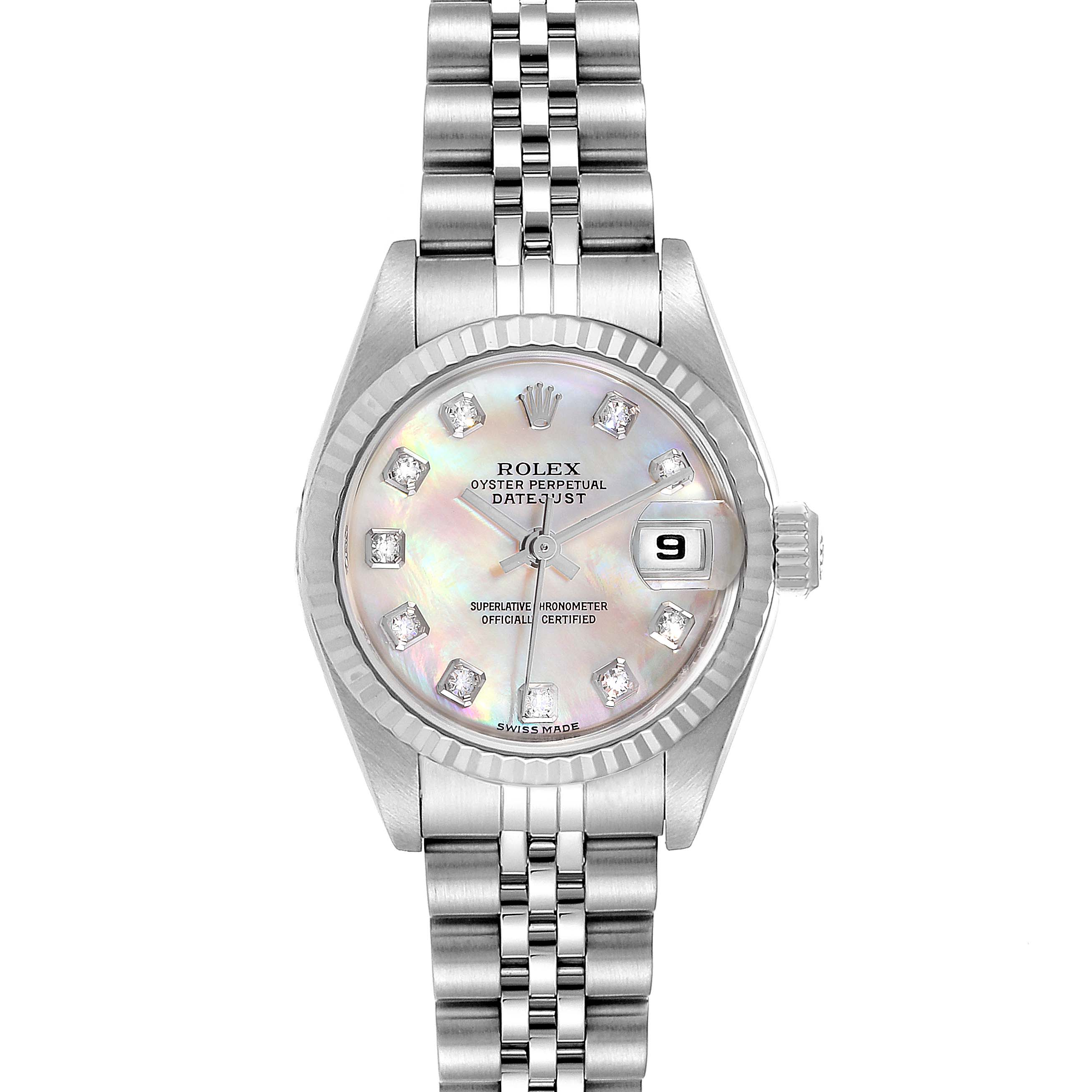 Photo of Rolex Datejust Steel White Gold MOP Diamond Ladies Watch 79174 Box Papers
