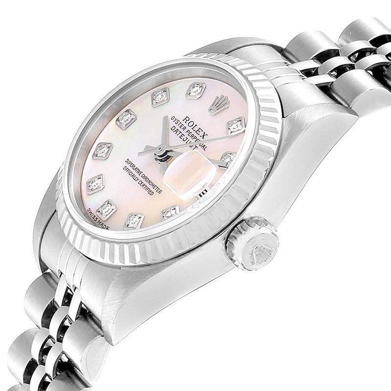 Rolex Datejust Steel White Gold MOP Diamond Ladies Watch 79174 Box Papers SwissWatchExpo