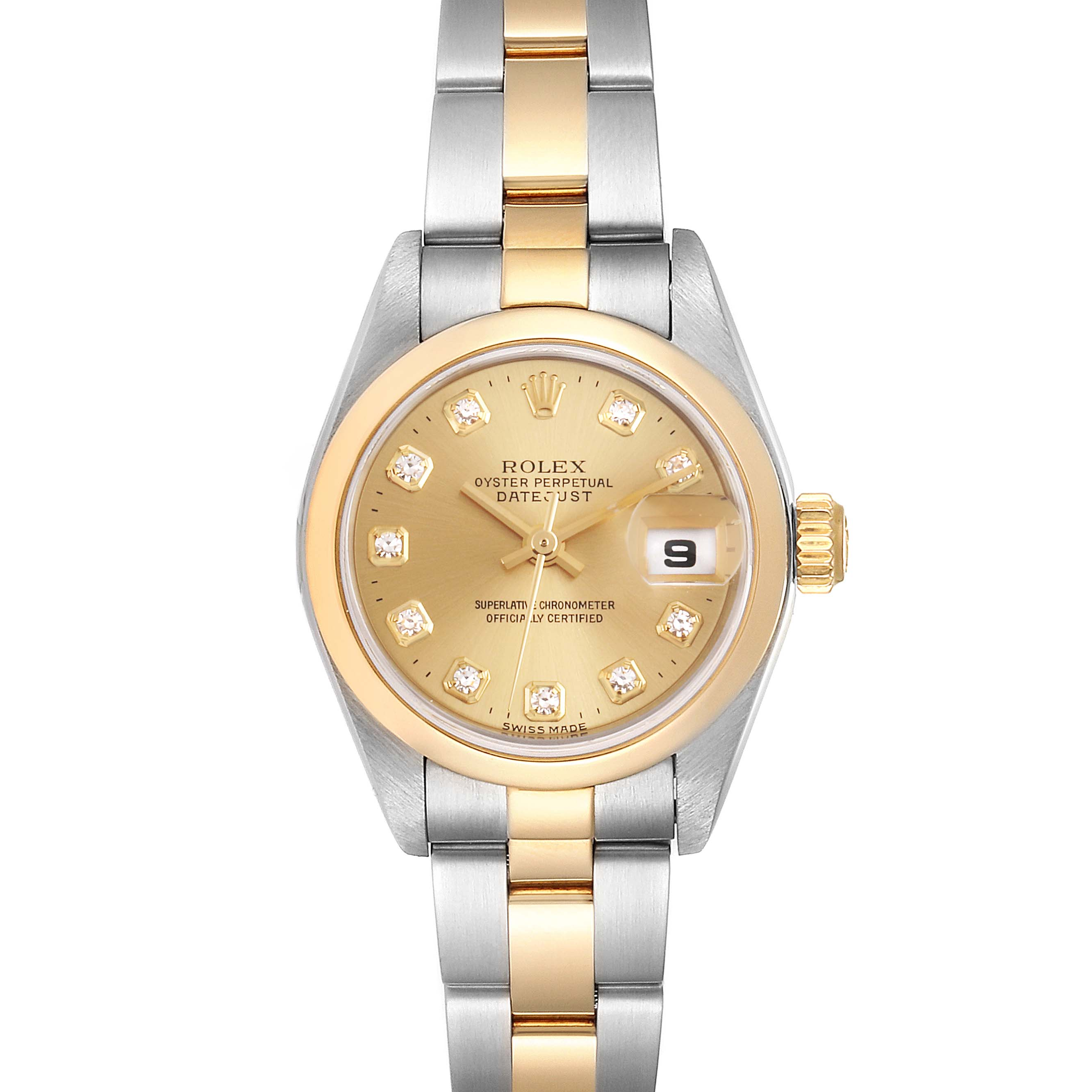 Photo of Rolex Datejust Steel Yellow Gold Diamond Dial Ladies Watch 79163