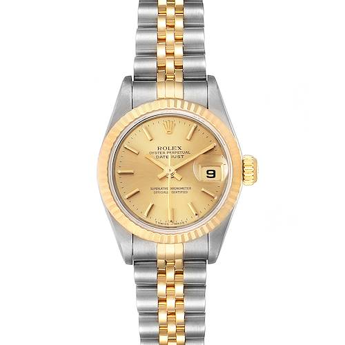 Photo of Rolex Datejust Steel Yellow Gold Fluted Bezel Ladies Watch 69173 Box Papers