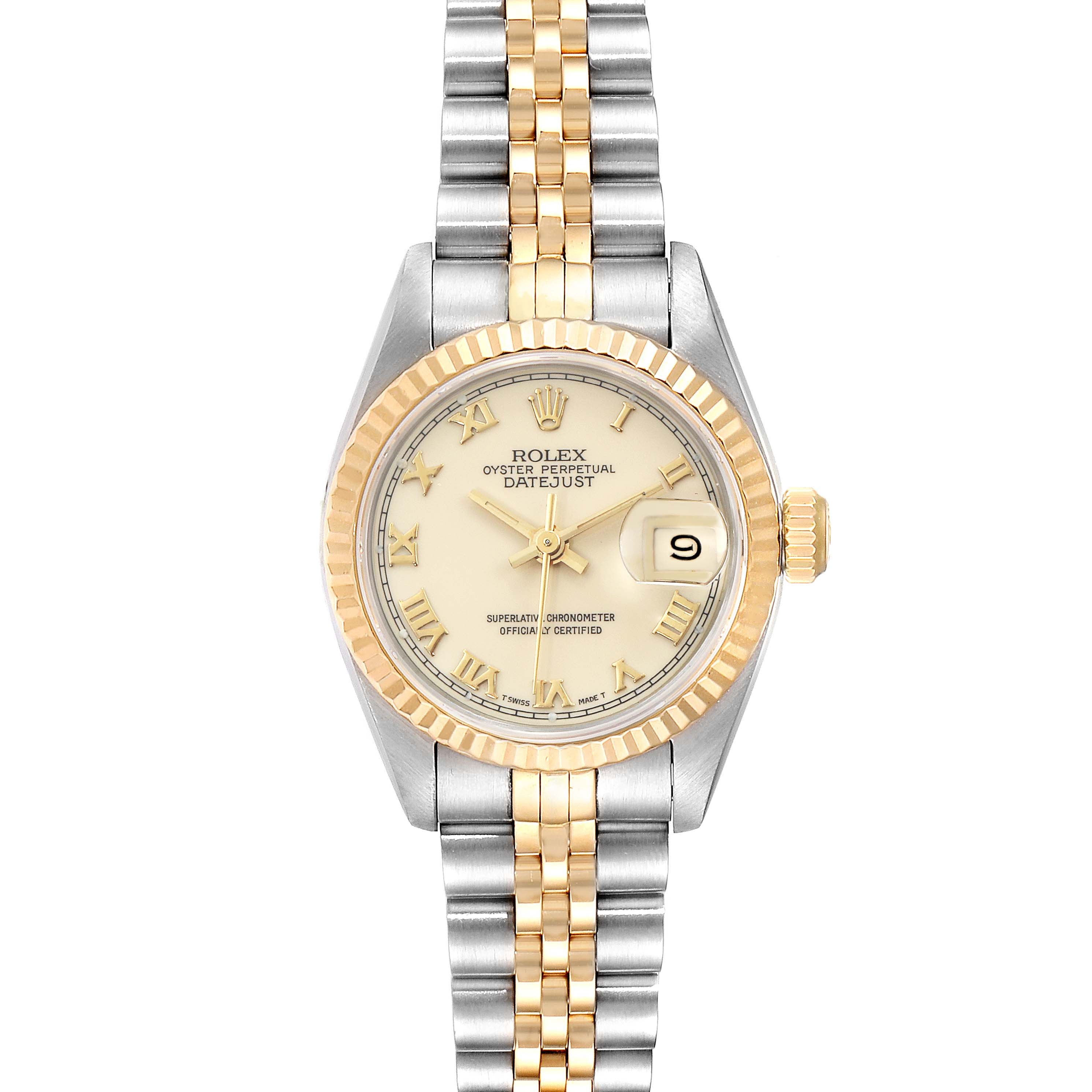 Photo of Rolex Datejust Steel Yellow Gold Ivory Roman Dial Ladies Watch 69173