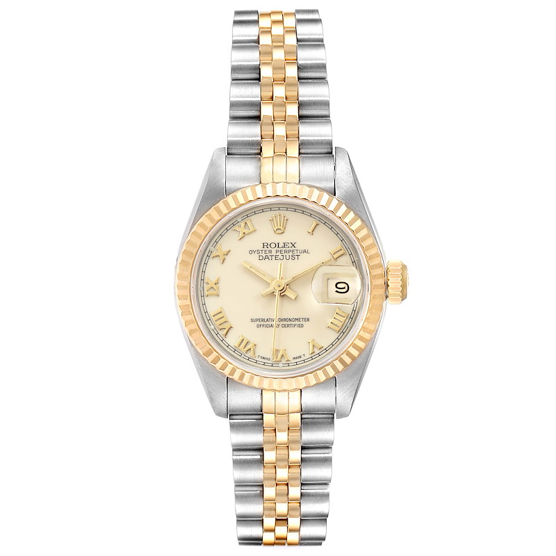 Rolex Datejust Steel Yellow Gold Ivory Roman Dial Ladies Watch 69173 SwissWatchExpo