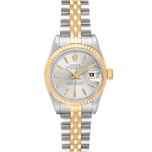 Photo of Rolex Datejust Steel Yellow Gold Tapestry Dial Ladies Watch 69173 Box Papers