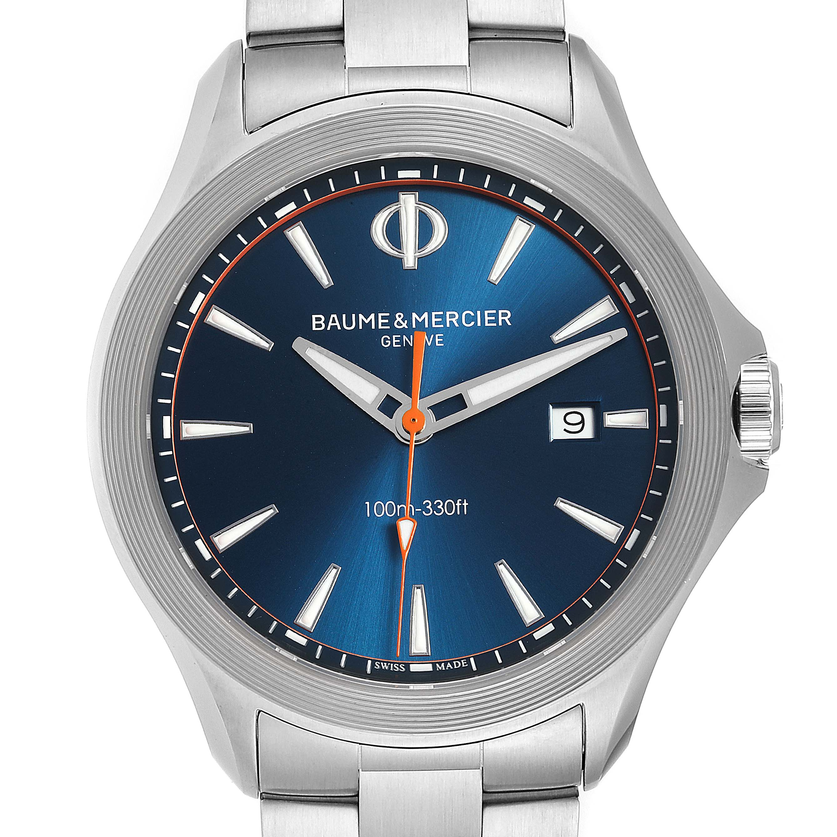 Photo of Baume Mercier Clifton Blue Dial Steel Mens Watch M0A10413 Box Card