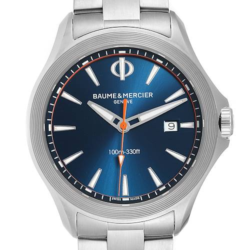 Baume Mercier Clifton Blue Dial Steel Mens Watch M0A10413 Box Card