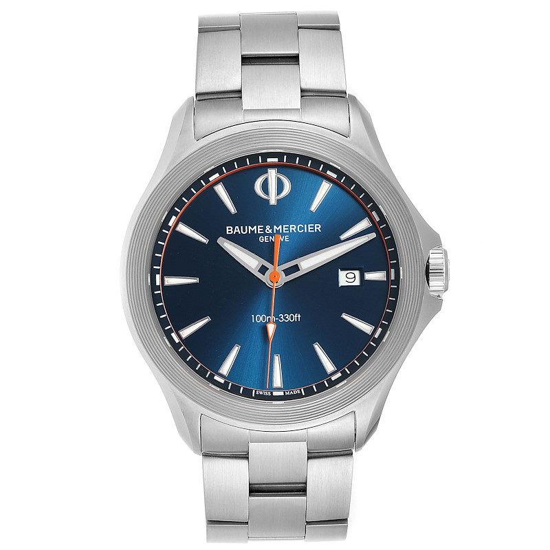 Baume Mercier Clifton Blue Dial Steel Mens Watch M0A10413 Box Card SwissWatchExpo